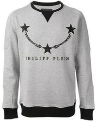 Серый свитер с круглым вырезом с принтом