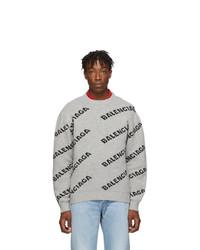 Мужской серый свитер с круглым вырезом с принтом от Balenciaga