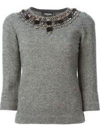 Серый свитер с круглым вырезом с украшением