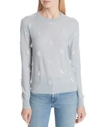 Серый свитер с круглым вырезом c бахромой