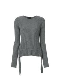 Женский серый свитер с круглым вырезом от Cashmere In Love