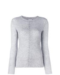 Женский серый свитер с круглым вырезом от Le Kasha