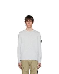 Мужской серый свитер с круглым вырезом от Stone Island