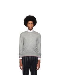 Мужской серый свитер с круглым вырезом от Thom Browne