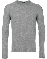 Мужской серый свитер с круглым вырезом от Zanone