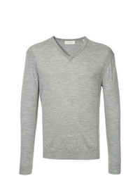 Мужской серый свитер с v-образным вырезом от Cerruti 1881