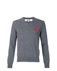 Мужской серый свитер с v-образным вырезом от Comme Des Garcons Play