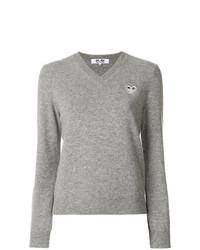 Женский серый свитер с v-образным вырезом от Comme Des Garcons Play