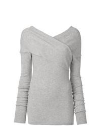 Женский серый свитер с v-образным вырезом от Emilio Pucci