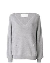 Женский серый свитер с v-образным вырезом от Esteban Cortazar