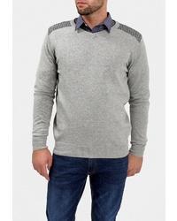 Мужской серый свитер с v-образным вырезом от F5