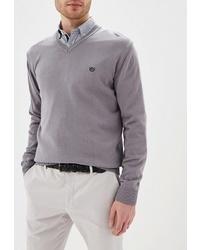 Мужской серый свитер с v-образным вырезом от Felix Hardy