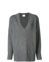 Женский серый свитер с v-образным вырезом от Le Kasha