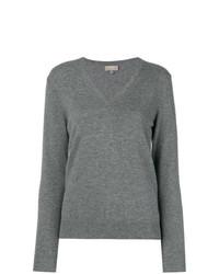 Женский серый свитер с v-образным вырезом от N.Peal