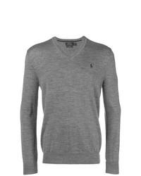 Мужской серый свитер с v-образным вырезом от Polo Ralph Lauren