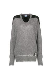 Женский серый свитер с v-образным вырезом от Prada