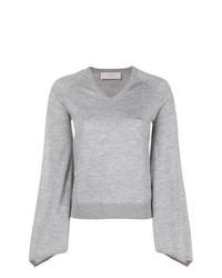 Женский серый свитер с v-образным вырезом от Pringle Of Scotland