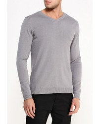 Мужской серый свитер с v-образным вырезом от River Island