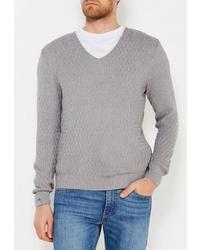 Мужской серый свитер с v-образным вырезом от RPS