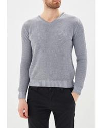 Мужской серый свитер с v-образным вырезом от Sava Mari