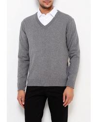 Мужской серый свитер с v-образным вырезом от STENSER