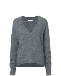 Женский серый свитер с v-образным вырезом от Tibi