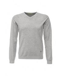 Мужской серый свитер с v-образным вырезом от Y.Two