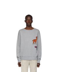 Мужской серый свитшот с вышивкой от Gucci