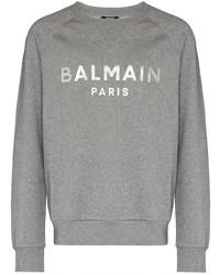 Мужской серый свитшот с принтом от Balmain