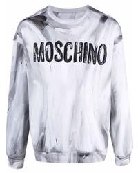 Мужской серый свитшот с принтом от Moschino