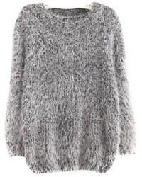 Серый свободный свитер из мохера