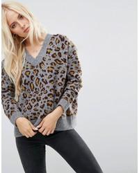 Женский серый свободный свитер с принтом от Asos