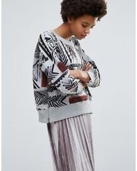 Женский серый свободный свитер с принтом от French Connection