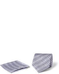 Серый хлопковый нагрудный платок в шотландскую клетку