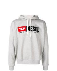 Мужской серый худи с принтом от Diesel