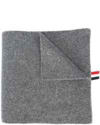 Мужской серый шарф в горизонтальную полоску от Thom Browne