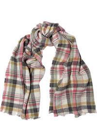 Женский серый шарф в шотландскую клетку от Isabel Marant