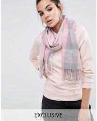 Женский серый шарф в шотландскую клетку от Reclaimed Vintage