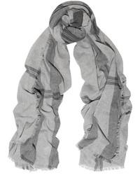 Женский серый шарф в шотландскую клетку от Tomas Maier