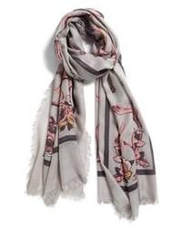Серый шарф с цветочным принтом