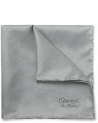Мужской серый шелковый нагрудный платок