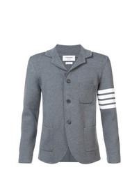 Мужской серый шерстяной вязаный пиджак от Thom Browne