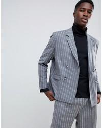 Серый шерстяной двубортный пиджак в вертикальную полоску