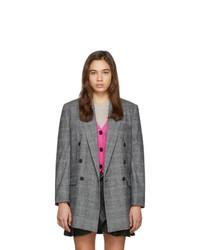 Женский серый шерстяной двубортный пиджак в клетку от Isabel Marant Etoile