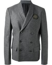 Серый шерстяной двубортный пиджак