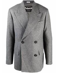 Мужской серый шерстяной двубортный пиджак от Alexander McQueen