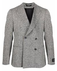 Мужской серый шерстяной двубортный пиджак от Z Zegna