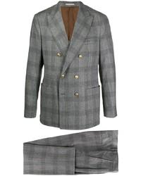 Серый шерстяной костюм в шотландскую клетку от Brunello Cucinelli