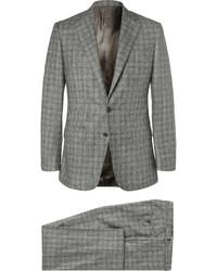 Серый шерстяной костюм-тройка в клетку