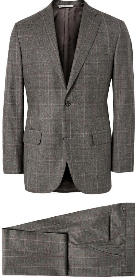 702a2a1e0e43 Серый шерстяной костюм-тройка в клетку, 106 197 руб.   MR PORTER ...